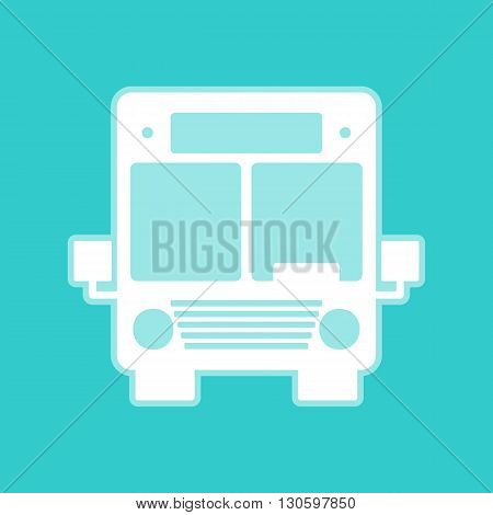 Bus sign. White icon with whitish background on torquoise flat color.