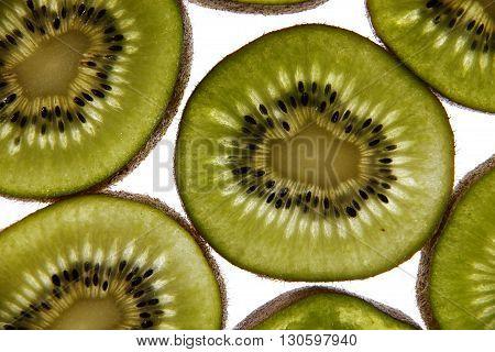 In macro photography studio environment was sliced kiwi fruit