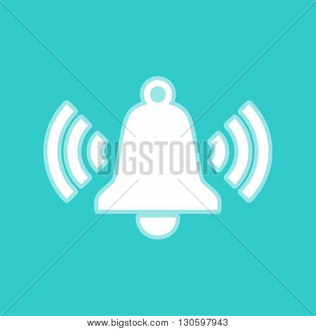 Ringing bell icon. White icon with whitish background on torquoise flat color.