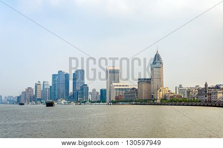 Shanghai skyline above the Huangpu River in China