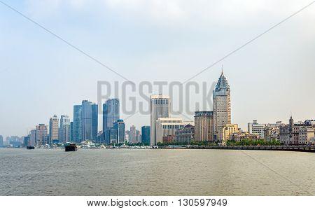 Shanghai skyline above the Huangpu River in China