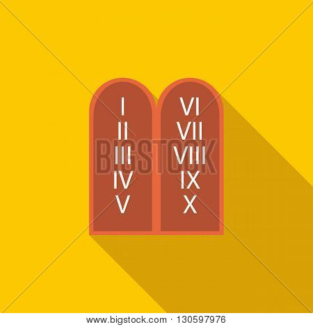Ten Commandments  icon in flat style on a yellow background