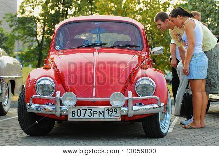 Red Vintage Volkswagen Beetle