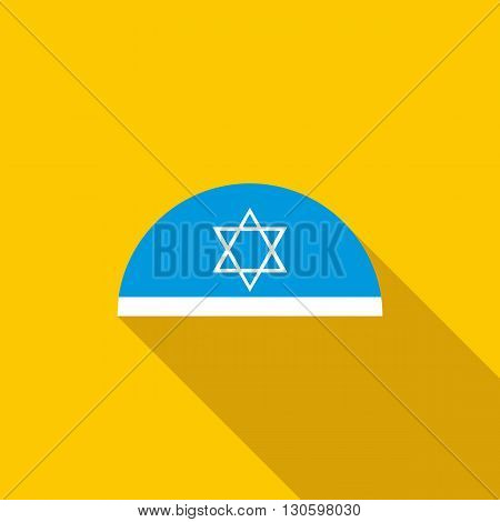 Traditional jewish headwear with star of David icon in flat style on a yellow background
