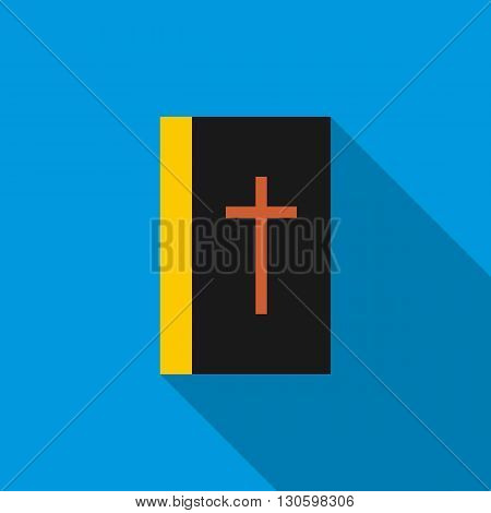 Black bible book icon in flat style on a blue background