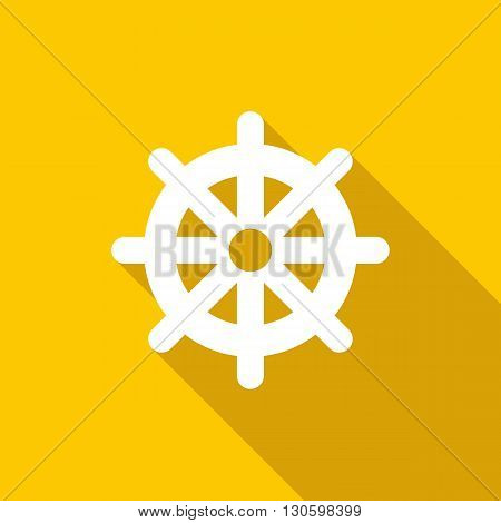 Wheel of Dharma icon in flat style on a yellow background