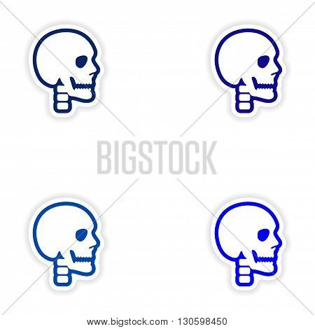 Set paper stickers on white background human skull