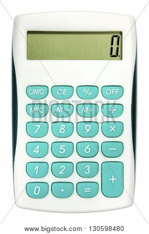 Calculator with turquoise color buttons isolated on white
