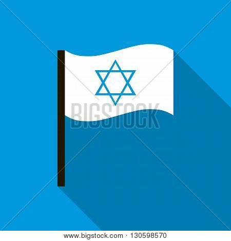 White flag with the Star of David icon in flat style on a blue background