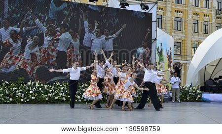 KYIV UKRAINE-CIRCA MAY 2015: Day of Kyiv on Sofia square. Final scene of group dance IN JAZZ RHYTHMS performed by students of National University of Culture and Arts