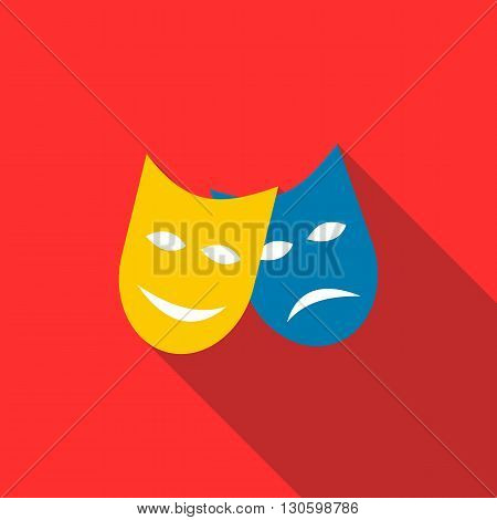 Two masks icon in flat style on a red background