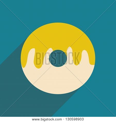 Flat with shadow icon and mobile application donut