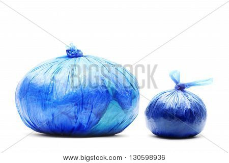 Two garbage bags isolated on a white