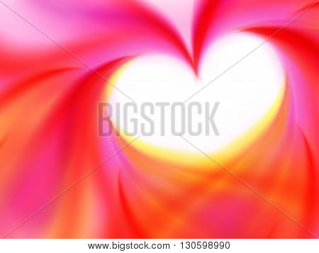 Heart of abstract showy pink yellow lines vector illustration