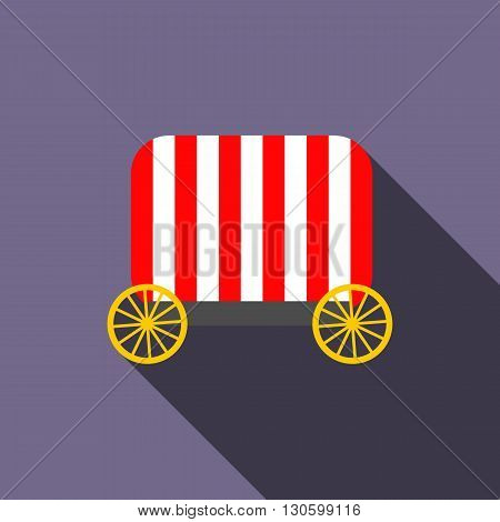 Circus wagon icon in flat style on a violet background
