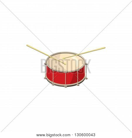 Red drum and drumsticks icon in cartoon style on a white background