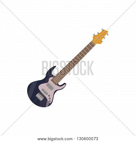 Black electric guitar icon in cartoon style on a white background