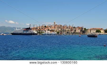 KORCULA, CROATIA - JUNE 29, 2014: Beautiful view of Korcula old town located on the island of Korcula in Adriatic sea. Korcula, Croatia, Europe.