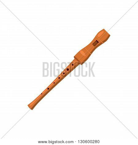 Wooden flute icon in cartoon style on a white background