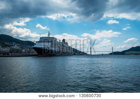 NAGASAKI CITY, JAPAN - MARCH 21, 2014. Cunard cruise ship