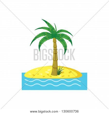 Palm tree icon in cartoon style on a white background
