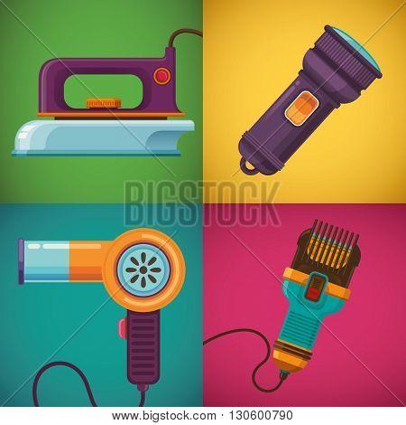 Retro devices illustration in color. Vector illustration.