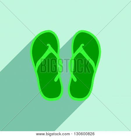 Flat with shadow icon and mobile application beach slippers