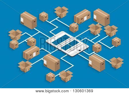 vector modern isometric global delivery background. eps10