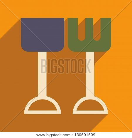 Flat with shadow icon and mobile application shovel and rake