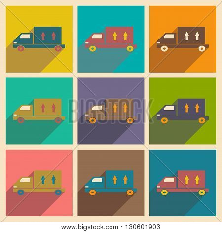 Flat with shadow concept and mobile application car delivery trucks
