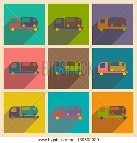 Flat with shadow concept and mobile application car bus service