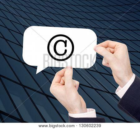 Copyright written in a speechbubble
