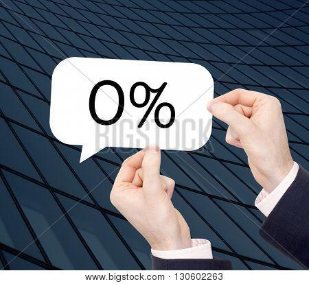 0% written in a speechbubble