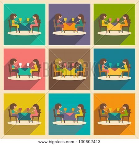 Flat with shadow concept and mobile application friendly dinner