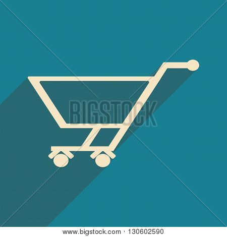 Flat with shadow icon and mobile application trolley
