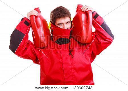 Man In Oilskin With Bottle.