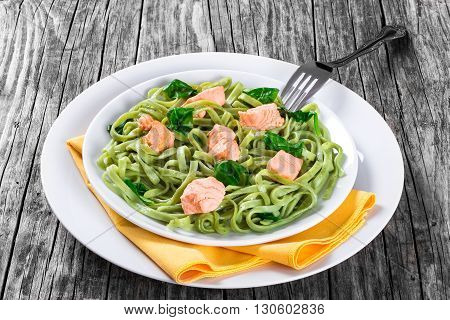 Salmon and Spinach Fettuccine pasta on white dishes with fork and napkin on a white table italian style studio lights close-up