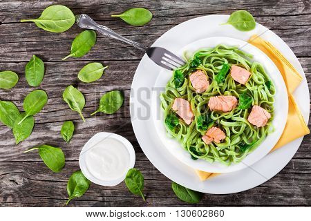 Salmon and Spinach Fettuccine pasta on white dishes with fork and napkin cream sauce on a gravy boat on a table italian style studio lights top view