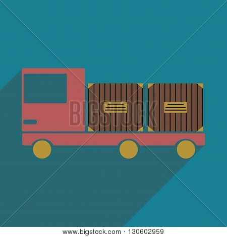 Flat with shadow icon and mobile application car cargo logistics