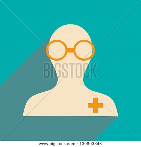 Flat with shadow icon and mobile application pharmacist