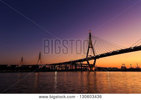 Bhumibol Bridge or Industrial Ring Road bridge at twilight