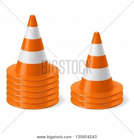 Piles of of traffic cone. Safety sign used to prevent accidents during road construction