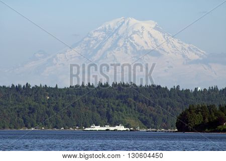 Mount Rainier and Ferry Boat in the State of Washington