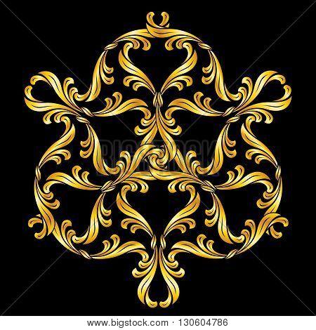 Golden floral pattern. Ornate design element on black background