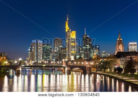 View of Frankfurt am Main skyline at dusk Germany