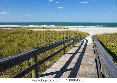 Wooden Beach Boardwalk leading to the white sandy Gulf Coast Beach