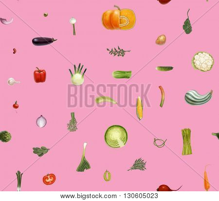 Hand-drawn vector seamless pattern of vegetables, isolated on transparent with pink background