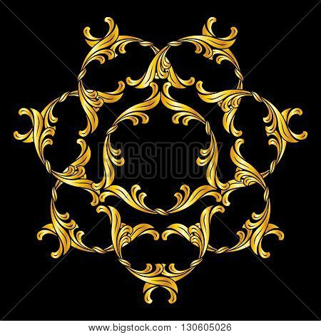 Floral ornament in golden shades on black background