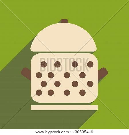 Flat with shadow icon and mobile application saucepan