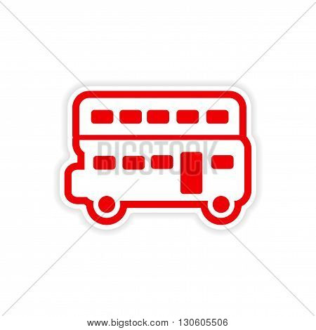 paper sticker British double-decker bus on white background